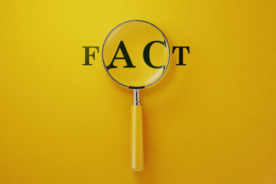 Magnifier And Fact Text On Yellow Background